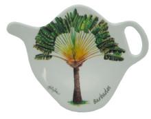 Teabag holder with palm design.