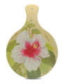 Chopping board with a hibiscus design.