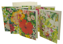 Six flower notelets by Jill Walker with 3 orchids and 3 hibiscus images.