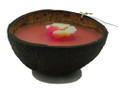Coconut Flower Candle Half Pink centre, White flower