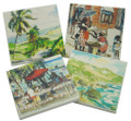 Stone coasters with scenes.