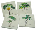 4 stone coasters with palms.