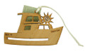 Wood Christmas Decoration Fishing Boat