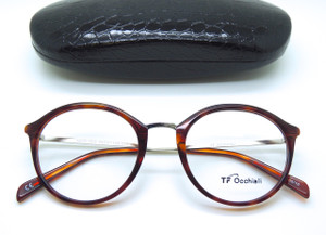Dark tortoisehell finish metal brow bar Italian designer glasses from www.theoldglassesshop.co.uk