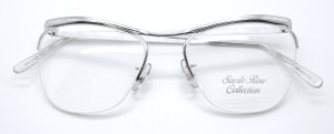 VINTAGE SAVILE ROW 14k Gold Filled Half Rim Prescription Frame By Algha In Silver Finish