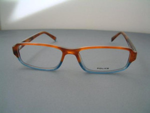 Police V1505 brown and blue two tone acrylic rectangle designer vintage frames