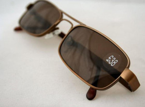 Quality Brushed Bronze Rectangular Designer Sunglasses