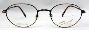 Tura New York 926 titanium vintage designer antique brown metal oval frames