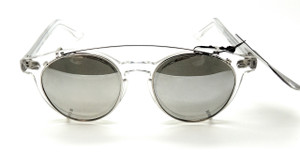Vintage Polaroid Crystal Frame glasses with original sunglass clip ons from www.theoldglassesshop.co.uk