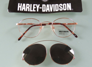Gold Harley Davidson Small Style Glasses With Clip-on Sunglasses