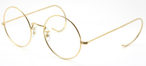 CLASSIC VINTAGE SAVILE ROW 14k Gold Filled 49mm Round Spectacles With Hooked Ears Curlsides