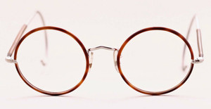 Front view vintage savile row frames with blonde rims