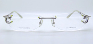 Boucheron Gold Plated Titanium designer rimless glasses from The Old Glasses Shop Ltd
