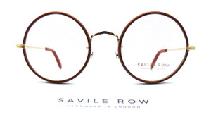 Tan Leather Rimmed Round Eye Glasses By Savile Row London