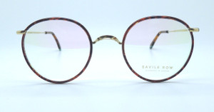 HANDMADE IN LONDON Savile Row PANTO Prescription Glasses Shiny Gold Savile Row Frames  With Chestnut rims 49mm Lenses