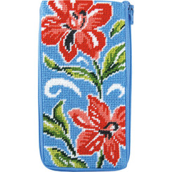 Red Floral Eyeglass Case