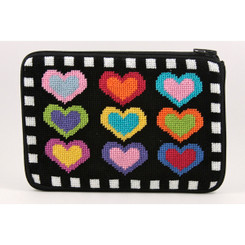 Hearts on Black Purse