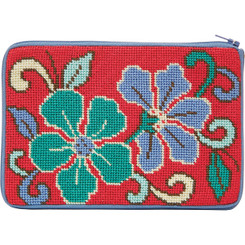 Red Asian Floral Purse