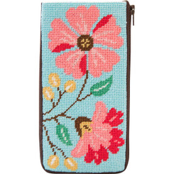Pink Flowers Eyeglass Case