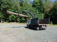 International chip truck w hydraulic grapple knuckle boom
