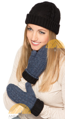 Mittens Alpaca Cable Knit - Reversible - Black and Heather Steel Blue - 16783209