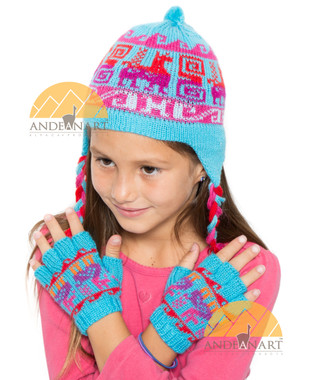 Fingerless Alpaca Gloves with Alpaca Motif for Children - Bold - 16783212