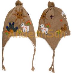 Applique Ear Flap Alpaca Hat for Children - Natural Colors - 16752205