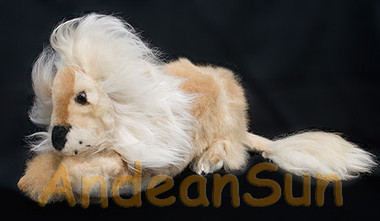 "Alpaca Fur Lying Lion 10"" long (fur to fur) - 8"" (hide to hide) - Mixed Colors - 15961605"