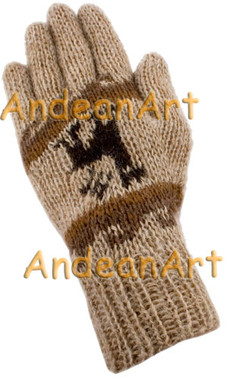 100% Alpaca Gloves with Andean Motif (HandSpun - HandKnitted - UNDYED Natural Alpaca Colors) - Rustic Quality - 16782201