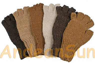 100% Alpaca FINGERLESS Gloves SOLID COLORS (HandSpun - HandKnitted - UNDYED Natural Alpaca Colors) - 16783207