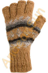 100% Alpaca FINGERLESS Gloves with Andean Motif (HandSpun-HandKnitted-UNDYED Natural Alpaca Colors) - 16783213