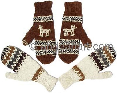 100% Alpaca MITTENS with Andean Motif (HandSpun - HandKnitted - UNDYED Natural Alpaca Colors) - 16783204