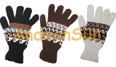 Double Knitted Alpaca Gloves with Alpaca Motif - 16783105