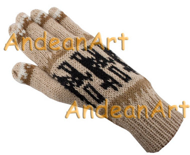 Alpaca / Llama Motif Alpaca Gloves - Natural Color - 16783101