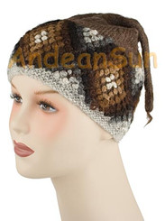"100% Alpaca BEANIE Hat ""Andean Bobble Knit"" (HandSpun - HandKnitted - UNDYED Natural Alpaca Colors) - Rustic Quality - 16741101"