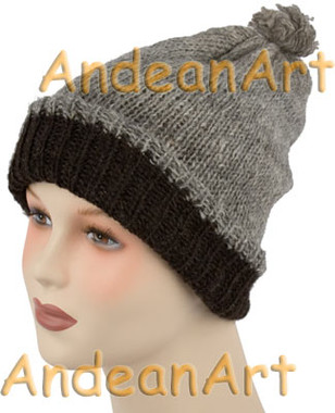 100% Alpaca BEANIE REVERSIBLE Hat SOLID COLORS (HandSpun - HandKnitted - UNDYED Natural Alpaca Colors) - Rustic Quality - 16751701