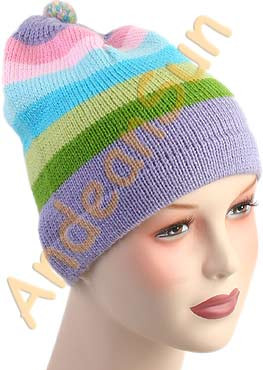 Striped Beanie Alpaca Hat - Bold Color - 16752218