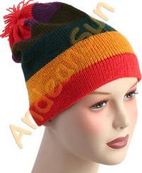 Striped Beanie Alpaca Hat - Earth Color - 16752218