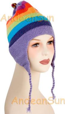 Striped Ear Flap Alpaca Hat - Bold Color - 16752210