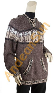 Hooded Alpaca Sweater - 16261705