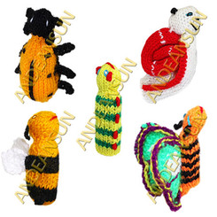 FP - Insects - RAW - Rustic Quality - Hand Knitted Finger Puppets - US STOCK