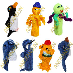 FP - Water Creatures - RAW - Rustic Quality - Hand Knitted Finger Puppets - US STOCK