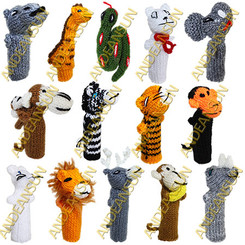 FP - Zoo Animals - RAW - Rustic Quality - Hand Knitted Finger Puppets - US STOCK