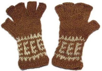 100% Alpaca KIDS FINGERLESS Gloves with Andean Motif (HandSpun - HandKnitted - UNDYED Natural Alpaca Colors) - 16783206