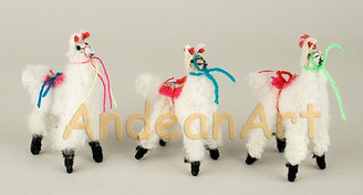 "Alpaca / Llama Standing Figurine 3"" - Lamb Wool - Alpaca Fur Toy - US STOCK"