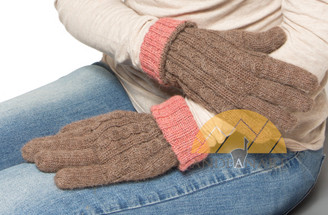 Reversible Alpaca Gloves Hand Finished Cable Knit - Light Rose Brown and Heather Rose Peach - 16783003
