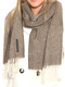 100% Baby Alpaca Herringbone Woven Scarf HIGH END - Heather Brown and Ivory - 16774201
