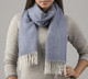 100% Baby Alpaca Herringbone Woven Scarf HIGH END - Blue and Ivory - 16774201