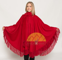 100% Baby Alpaca Cape - Cloak with attached scarf and fringe - Dark Red - 16834201