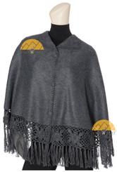 Short Alpaca Cape with Hand Crocheted Roses - Alpaca Carrasco - Charcoal - 16833522